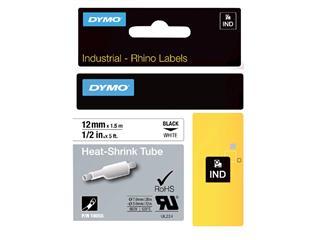 Labeltape Dymo Rhino 18055 krimpkous 12mmx1.5m zwart op wit