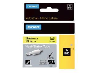 Labeltape Dymo Rhino 18056 krimpkous 12mmx1.5m zwart op gl