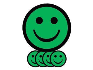 Magneet smiley 25mm emotie blij groen