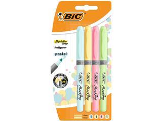 Markeerstift Bic grip etui à 4 stuks assorti pastel