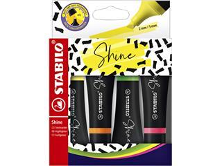 Markeerstift STABILO Shine 76/4 etui à 4 kleuren