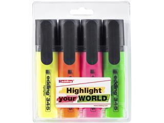 Markeerstift edding 345 2-5mm blister à 4 kleuren