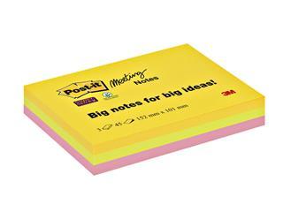 Memoblok 3M Post-it 6445 Super Sticky 152x101mm assorti