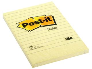 Memoblok 3M Post-it 660 102x152mm lijn geel