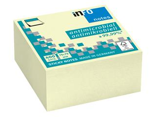 Memoblok Info Notes antimicrobiëel 75x75mm geel