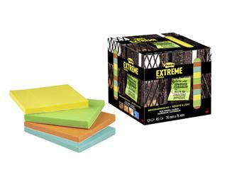 Memoblok Post-it Extreme 76x76mm 4 kleuren assorti