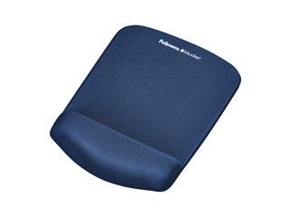 Muismat met polssteun Fellowes Plush Touch blauw