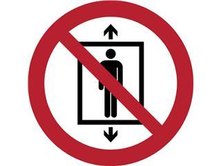 Pictogram Tarifold verboden lift te gebruiken door personen ø200mm