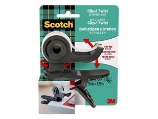 Plakbandhouder Scotch Clip C19 donkergrijs + 1rol magic tape 19mmx8.89m