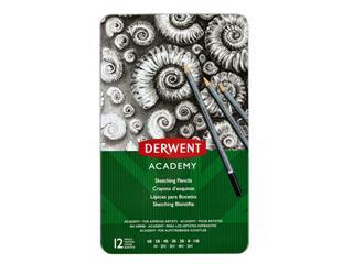 Potlood Derwent Academy 6B5H assorti hardheden blik à 12 stuks
