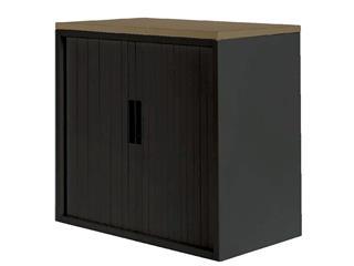Roldeurkast 20H zwart met topblad noten