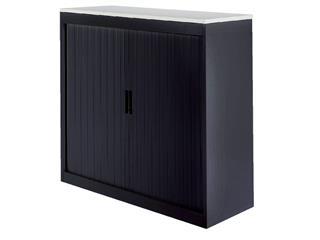 Roldeurkast 30H zwart met topblad wit