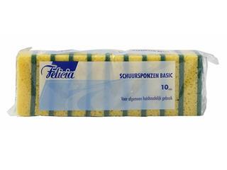 Schuurspons Felicia geel/groen 6x9cm 10 stuks