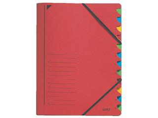 Sorteermap Leitz 3912 12-delig karton rood