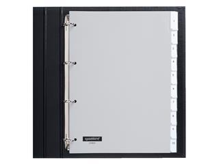 Tabbladen Quantore 4-gaats 10-delig met venster grijs PP