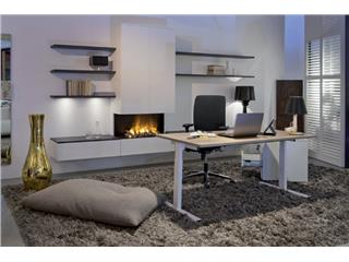 Bureau NPO Pro-Fit ZIT-STA 180x80cm wit frame noten blad elektrisch verstelbaar