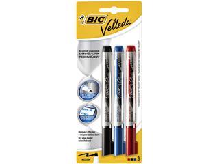 Viltstift Bic Velleda liquid whiteboard rond medium blister à 3 stuks assorti