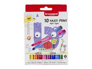 Viltstift Bruynzeel Kids meerpuntig blister à 10 stuks ass