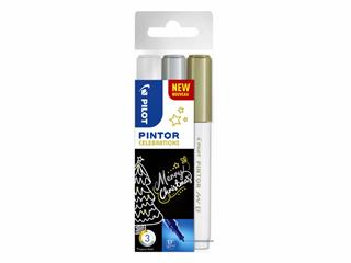 Verfstift Pilot Pintor celebrations 0,7mm etui à 3 stuks ass