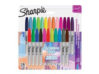 Viltstift Sharpie Electro Pop rond 0.9mm blister à 24 kleuren