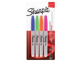 Viltstift Sharpie rond 0.9mm blister à 4 stuks fun assorti