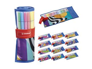 Fineliner STABILO Pen 68 Just like you edition roletui blauw à 25 kleuren