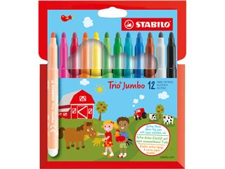 Viltstift STABILO Trio Jumbo XXL etui à 12 kleuren