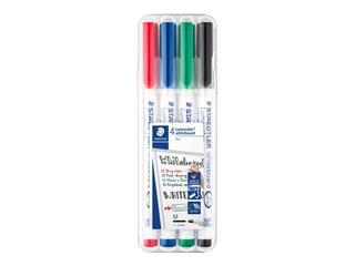 Viltstift Staedtler 301 whiteboard rond assorti 1mm 4stuks