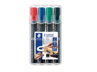 Viltstift Staedtler Lumocolor 350 permanent schuin set à 4 stuks assorti