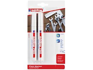 Viltstift edding 750 lakmarker rond 2-4mm blister à 2 stuks wit