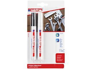 Viltstift edding 750 lakmarker rond 2-4mm blister zwart en wit