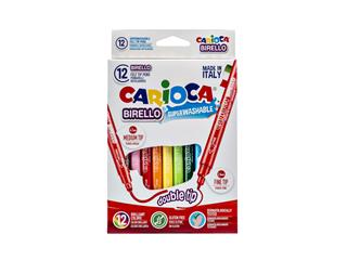 Viltstiften Carioca Birello dubbelpunters set à 12 kleuren