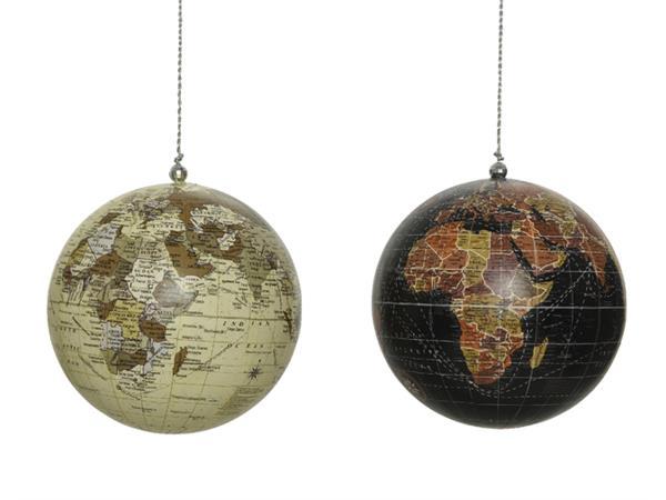 Kerstbal wereldkaart assorti