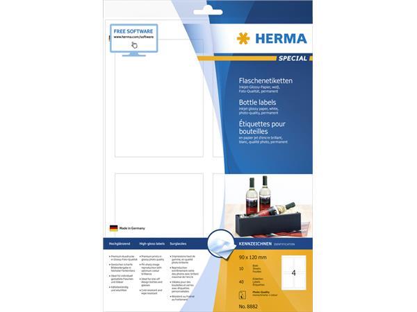 ETIKET HERMA 8882 90X120MM A4 GLOSSY WIT