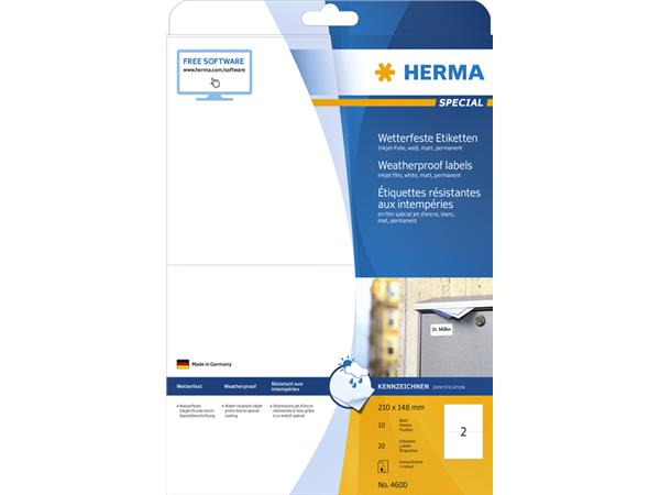 ETIKET HERMA 4600 210X148MM A4 POLYESTER WIT
