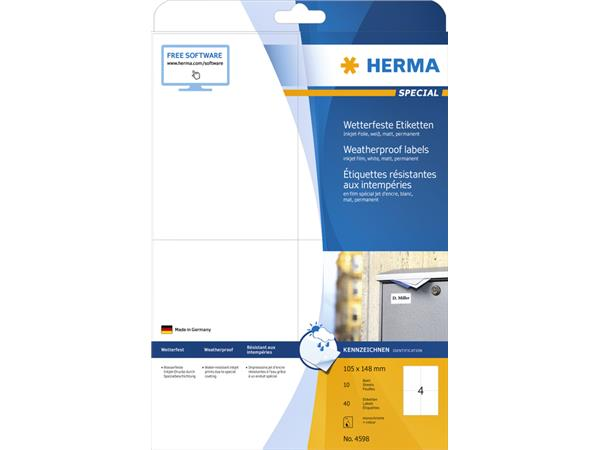 ETIKET HERMA 4598 105X148MM A4 POLYESTER WIT