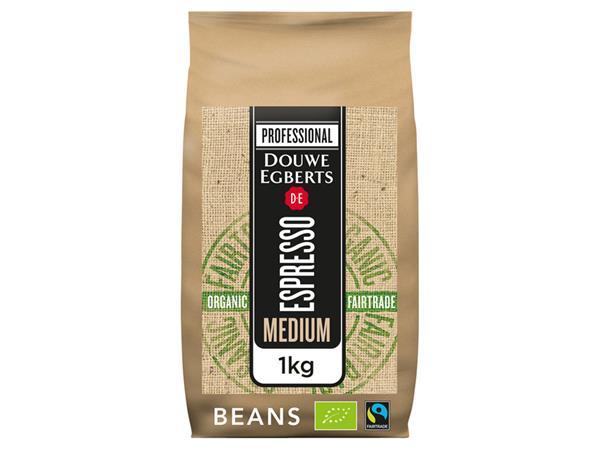 Koffie Douwe Egberts espresso bonen medium roast Organic en Fairtrade 1000gr