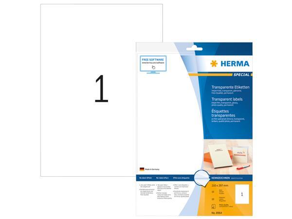 Etiket Herma 8964 210x297mm 10stuks transparant glanzend
