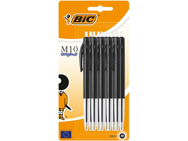 Balpen Bic M10 zwart medium blister à 10 stuks