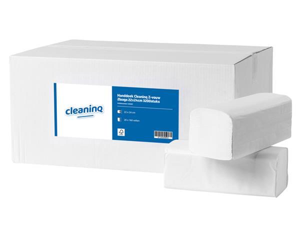 Handdoek Cleaninq Z-vouw 2laags 22x24cm 3200stuks