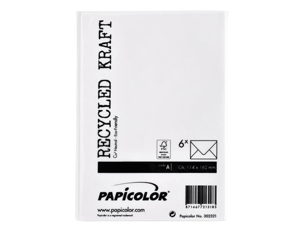 Envelop Papicolor C6 114x162mm Kraft wit