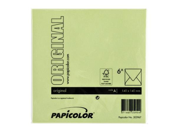 ENVELOP PAPICOLOR 140X140 6ST APPELGROEN