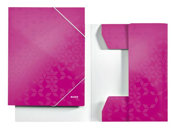 3-klepsmap Leitz WOW A4 karton roze