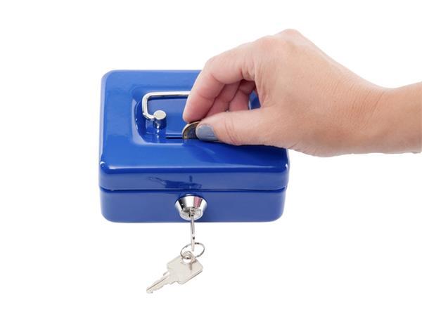 Geldkist MAUL met muntgleuf 125x95x60mm blauw