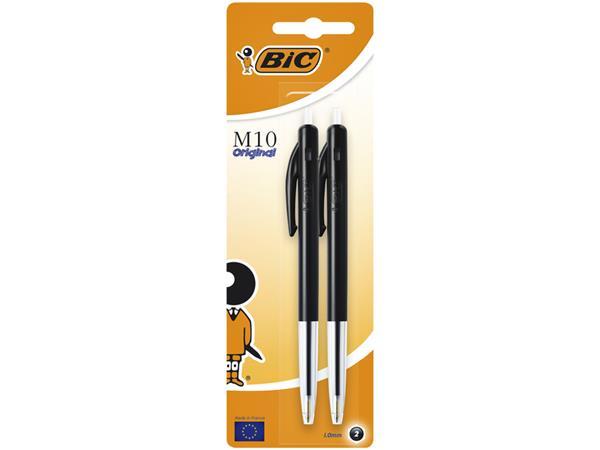 Balpen Bic M10 zwart medium blister à 2st