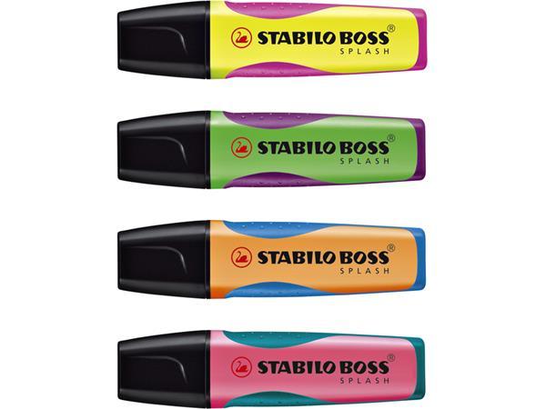 Markeerstift STABILO Boss Splash 75/5 etui à 4 kleuren