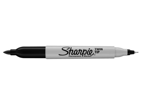 VILTSTIFT SHARPIE TWIN TIP ROND 0.5MM EN 0.9MM ZWART