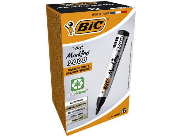 Viltstift Bic 2000 rond zwart 1.7mm