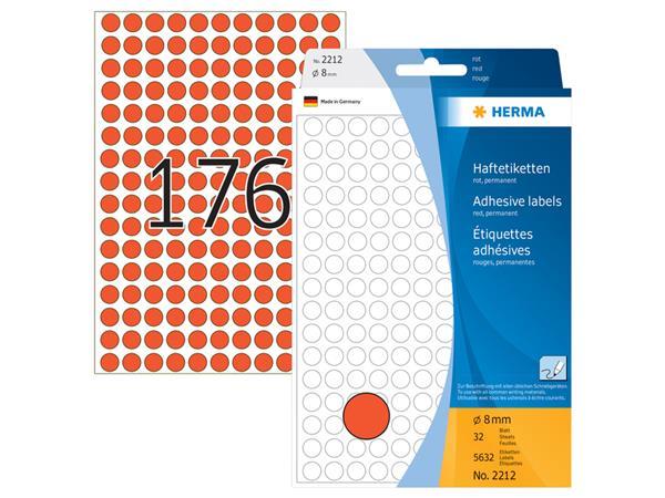 Etiket Herma 2212 rond 8mm rood 5632stuks