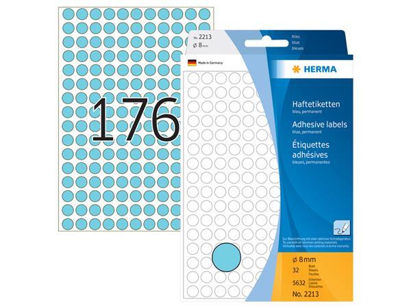 Etiket Herma 2213 rond 8mm blauw 5632stuks